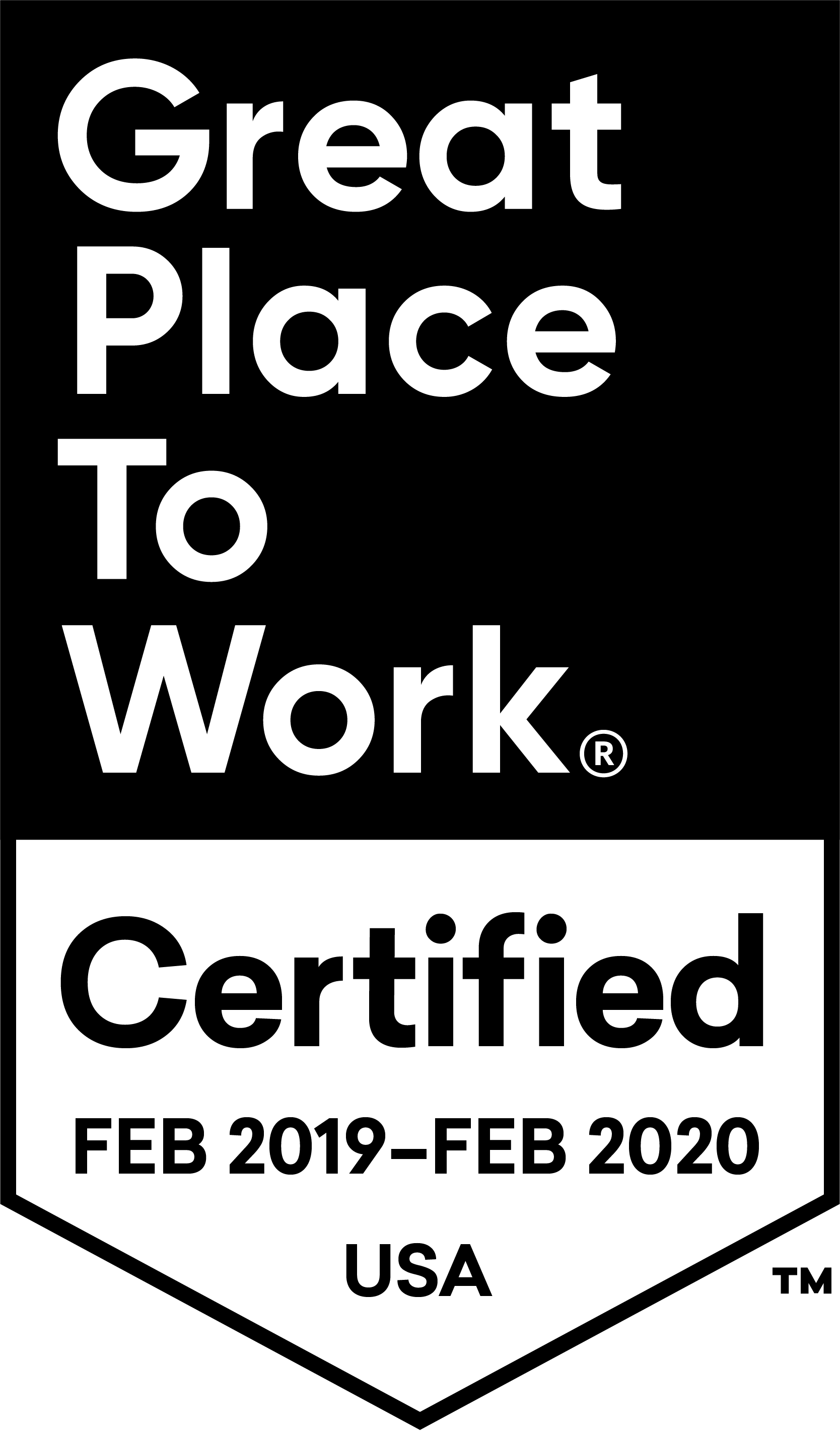 Great Place to Work Certified February 2019 - February 2020